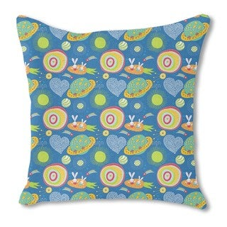 Space Bunnies Burlap Pillow Single Sided