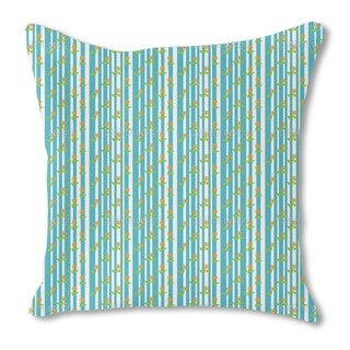 Stripes and Flowers Burlap Pillow Double Sided