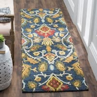 Safavieh Handmade Blossom Navy / Multicolored Wool Runner Rug (2' x 12')