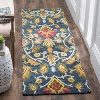 Safavieh Handmade Blossom Navy / Multicolored Wool Runner Rug - 2' x 6'