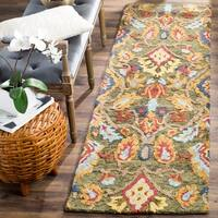 Safavieh Handmade Blossom Green / Multicolored Wool Runner Rug - 2' x 12'