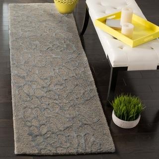 Safavieh Handmade Blossom Abstract Grey / Grey Wool Runner Rug (2' 3 x 8')