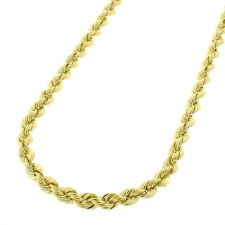 14k Yellow 3mm Solid Rope Cable Chain Necklace