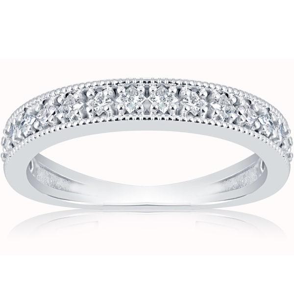 10k White Gold 1/3 ct TDW Princess Cut Diamond Wedding Ring Stackable Band
