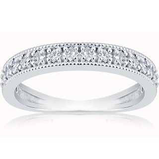 10k White Gold 1/3 ct TDW Princess Cut Diamond Wedding Ring Stackable Band (H-I,I1-I2)