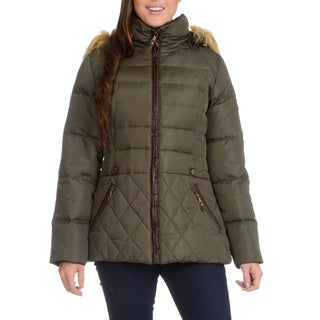 Short Puffer with Faux Fur Trim Hood