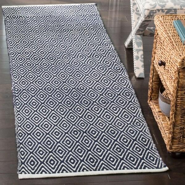 Safavieh Handmade Boston Navy Cotton Runner Rug - 2' 3 x 9'