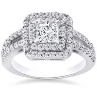 14k White Gold 1 1/5 ct TDW Pave Double Halo Princess Cut Engagement Ring