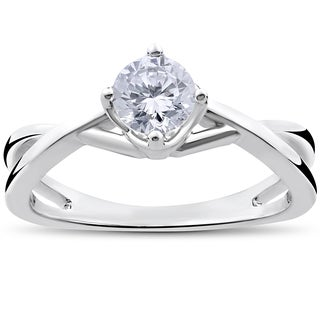 14k White Gold 1/2ct TDW Round Solitaire Diamond Vintage Twist Engagement Ring (I-J, I2-I3)