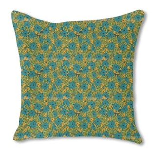 Vintage Flower and Paisley Burlap Pillow Single Sided