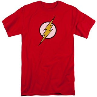 JLA/Flash Logo Short Sleeve Adult T-Shirt Tall in Red