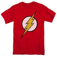 JLA/Flash Logo Short Sleeve Adult T-Shirt 18/1 in Red