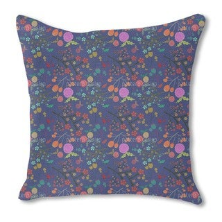 Olives and Flowers Burlap Pillow Single Sided