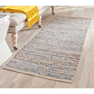 Safavieh Hand-Woven Cape Cod Natural / Blue Jute Runner Rug (2' x 12')