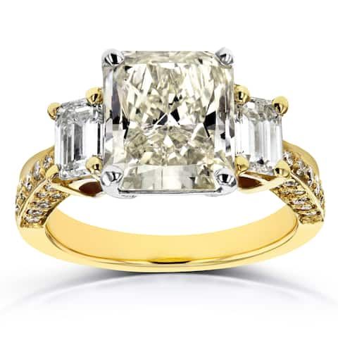 Annello by Kobelli 18k Two Tone Gold Certified 5 4/5ct TDW Three Stone Radiant and Emerald Diamond E
