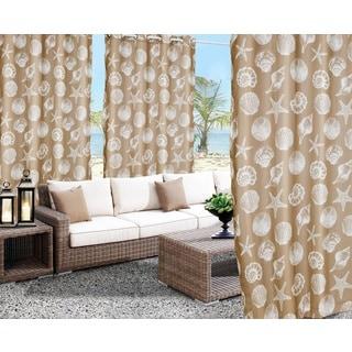 'Seashells' Print Indoor/Outdoor Curtain Panel