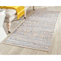 Safavieh Hand-Woven Cape Cod Natural / Blue Jute Runner Rug - 2' x 14'