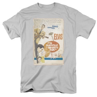 Elvis/World Fair Poster Short Sleeve Adult T-Shirt 18/1 in Silver