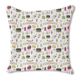 Happy Birthday Burlap Pillow Single Sided