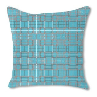 Asian Lattice Turquoise Burlap Pillow Double Sided