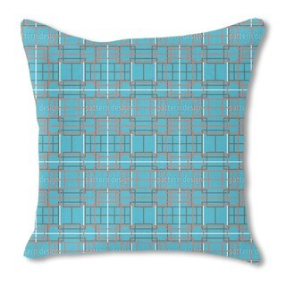 Asian Lattice Turquoise Burlap Pillow Single Sided