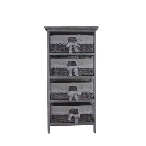 Urban Port Soft Grey Finished End Table with Storage
