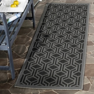 Safavieh Courtyard Modern Geometric Black/ Anthracite Indoor/ Outdoor Runner Rug (2'3 x 6'7)