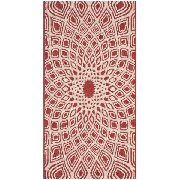 Safavieh Courtyard Optic Red/ Beige Indoor/ Outdoor Runner Rug (2' 7 x 5')