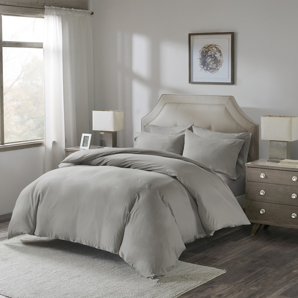 Madison Park Luxury Cotton Percale Duvet Set with Fitted Sheet