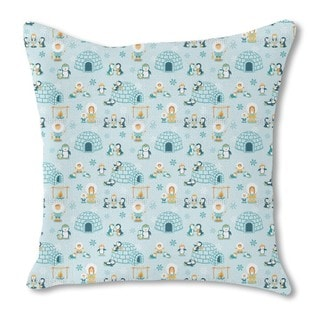 Snowland Family Burlap Pillow Double Sided