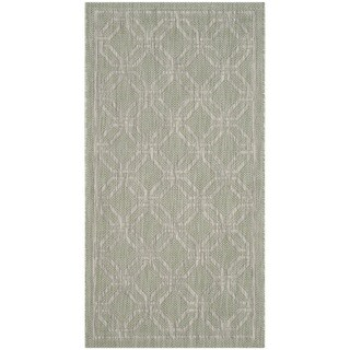 Safavieh Indoor / Outdoor Courtyard Green / Grey Runner Rug (2' 7 x 5')