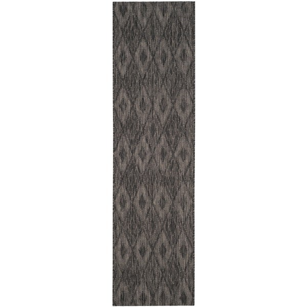 Safavieh Indoor / Outdoor Courtyard Black / Black Runner Rug (2' 3 x 12')