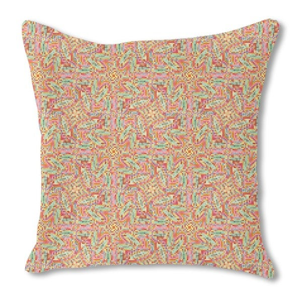Summer Pixel Burlap Pillow Single Sided