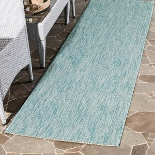 Safavieh Indoor / Outdoor Courtyard Aqua / Aqua Runner Rug (2' 3 x 8')