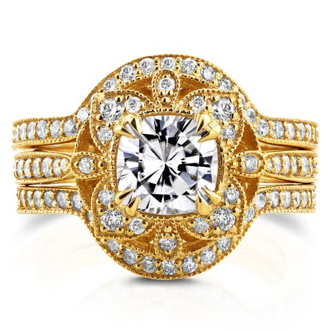 Annello by Kobelli 14k Yellow Gold Moissanite and 5/8ct TDW Diamond 3-Piece Floral Antique Bridal Set