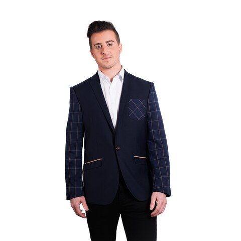 Elie Balleh Men's Milano Italy Blue Cotton 2015-style Slim-fit Jacket/Blazer