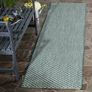 Safavieh Indoor / Outdoor Courtyard Turquoise / Light Grey Runner Rug (2' x 12')