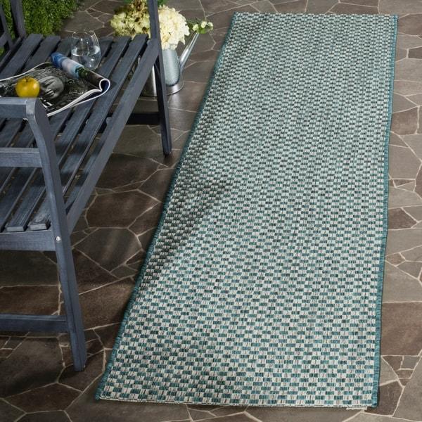 Safavieh Indoor / Outdoor Courtyard Turquoise / Light Grey Runner Rug - 2' x 8'