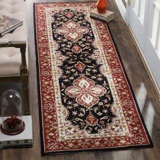 Safavieh Hand-hooked Easy to Care Black / Red Runner Rug (2' 6 x 8')