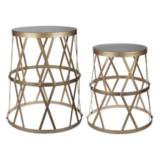 Kathy Ireland Urban Vogue Gold Accent Tables (Set of 2)