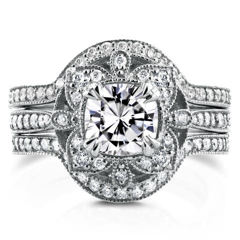 Annello by Kobelli 14k White Gold Moissanite and 5/8ct TDW Diamond 3-Piece Floral Antique Bridal Set