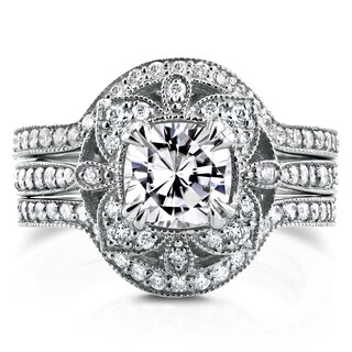 Annello by Kobelli 14k White Gold Moissanite (HI) and 5/8ct TDW Diamond 3-Piece Floral Antique Bridal Set