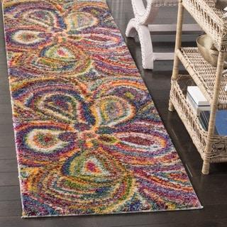 Safavieh Fiesta Shag Abstract Floral Multicolored Runner (2' 3 x 8')