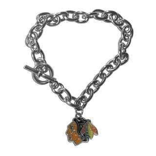 NHL Sports Team Logo Chicago Blackhawks Multicolored Chrome-finished Metal Link Charm Bracelet