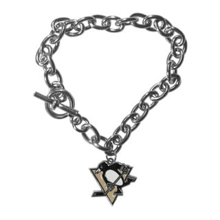 NHL Pittsburgh Penguins Sports Team Logo Charm Chain Bracelet