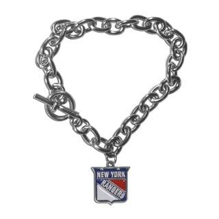 NHL Sports Team Logo New York Rangers Chrome Enamel Charm Chain Bracelet