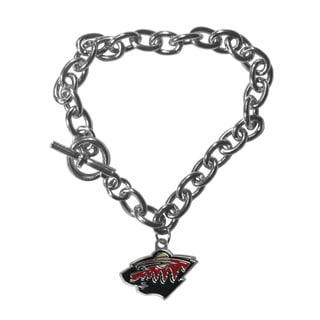 NHL Sports Team Logo Minnesota Wild Chrome Chained Charm Bracelet