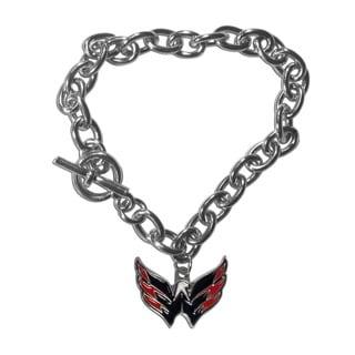 NHL Sports Team Logo Washington Capitals Chrome-finished Metal Charm Link Bracelet