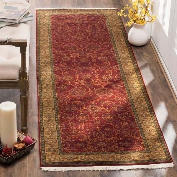 "Safavieh Hand-knotted Ganges River Rust / Green Wool Runner Rug - 2'6"" x 12'"