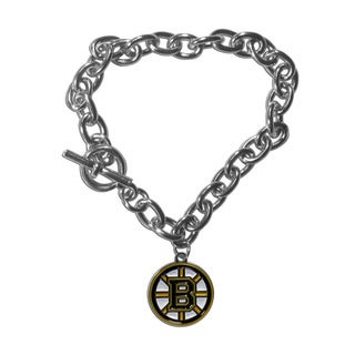 NHL Sports Team Logo Boston Bruins High Polish Enamel Charm Chain Bracelet